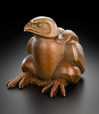 Bronze of baby falcon